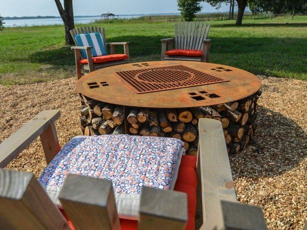 How to Make Blog Cabin's Fire Pit >> http://blog.diynetwork.com/maderemade/how-to/blog-cabin-diys-how-to-make-an-upcycled-metal-fire-pit/?soc=pinterestbc14: Fire Pits, Cabin 2014, Cabin 2015, Cabins, Blog Cabin S, Blogcabin S Fire, Cabin S Upcycled, Cave Diy, Cabin Diys