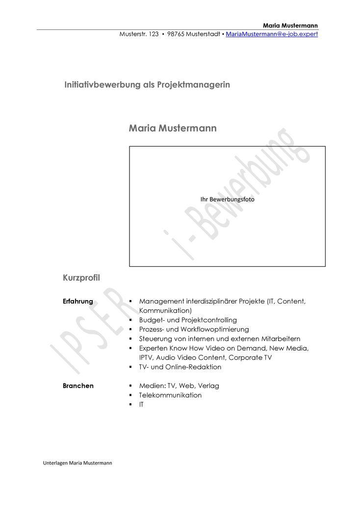 Hier sehen Sie ein Beispiel für die Gestaltung eines Deckblattes für eine Initiativbewerbung als Projektmanagerin.  Mehr Muster auf: www.initiativbewerbungen.com