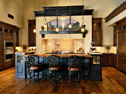 Like how they staggered the lights  Olde World Kitchens - mediterranean - kitchen - other metros - Affinity Kitchens