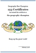 Free printable geography certificates, geography awards, geography certificate templates, geography bee certificates, geography printables