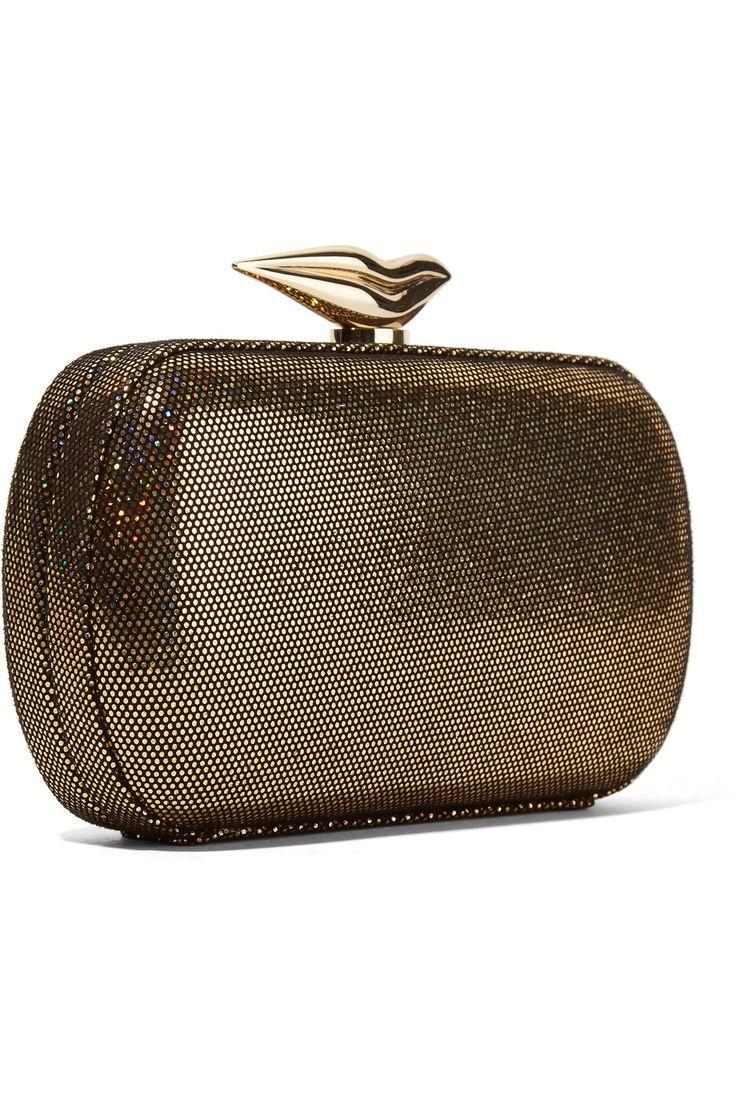 Diane von FurstenbergFlirty lamé and leather clutchback