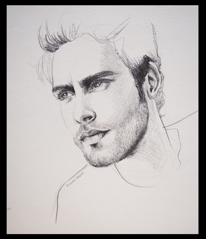 Line Drawing Male Face : Jon kortajarena model face pencil drawing blacn and white