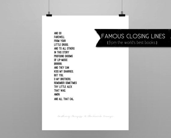 A CLOCKWORK ORANGE// quote poster // Select a Size // black and white // last lines from the book A Clockwork Orange // geekery A CLOCKWORK ORANGE// quote poster // Select a Size // black and white // last lines from the book A Clockwork Orange // geekery
