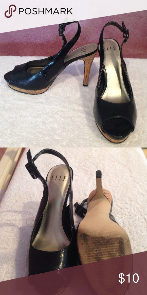 """ELLE shoes size 6M Patent lather peep toe, sling back with cork soul and heel, 4"""" heel. Only worn a few times. Elle Shoes Heels"""