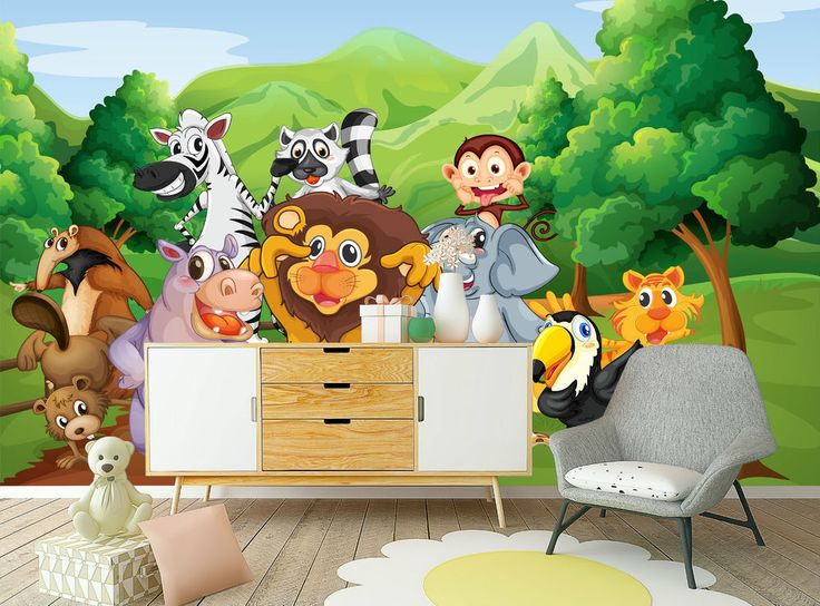 Cartoon Wild Animals In Forest Mural Photo Wallpaper