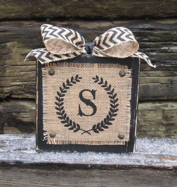 Burlap and Wood Sign - Personalized - Initial Monogram -  Distressed Wood Block - Chevron Ribbon - Painted Burlap Sign