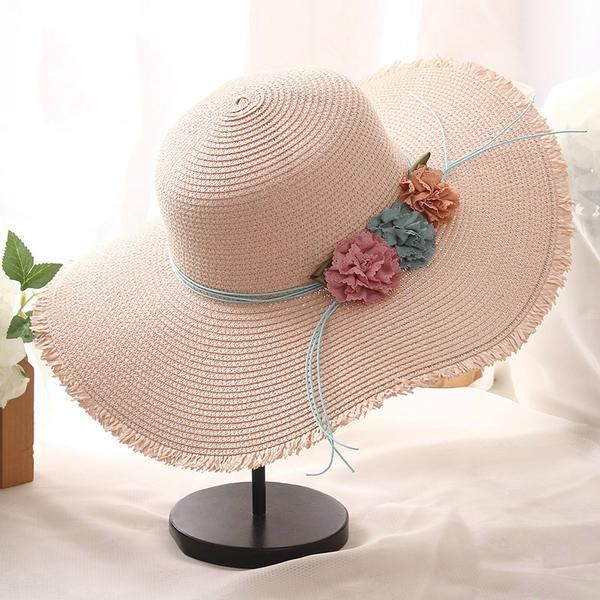 Simple Flower Large Side Straw Hat Shade Hats Sun Hats Cute Hats