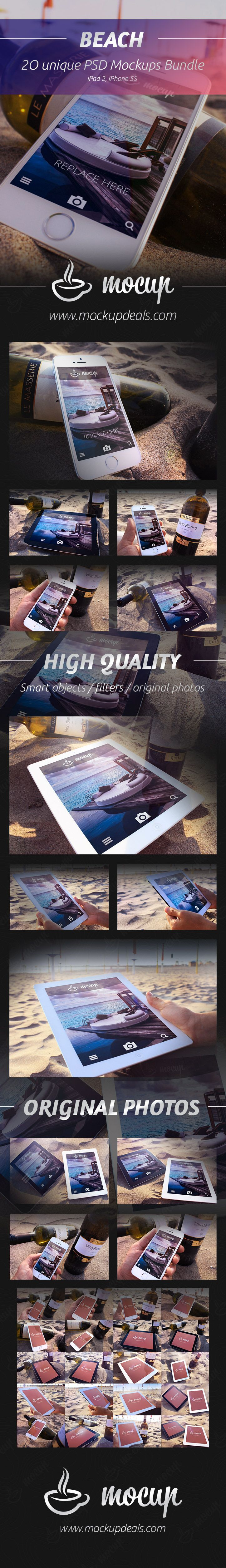 A real photo PSD iPhone 5S and iPad 2 mockups set Beach to present your website or application.