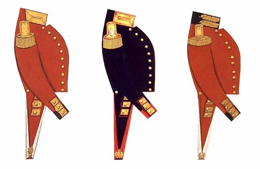 Here are representations of the uniform coats of British officers of the 1830's - left to right, Royal Engineers, Royal Artillery, Light Inf...