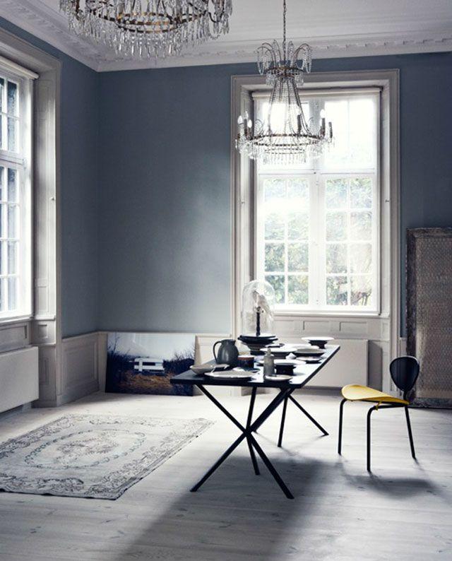 Blue grey walls with putty grey trim