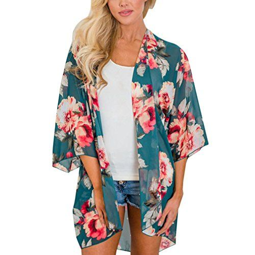 cbb8c11275 Nikuya Top Nikuya Women Summer Beach Floral Chiffon Kimono Sun Protection  Cover Ups