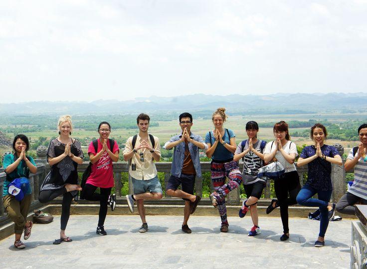 The team tried a meditation pose at Bai Dinh Pagoda