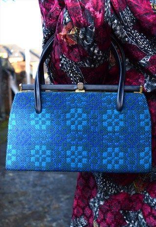 Welsh Tapestry Vintage Handbag Wool & Leather