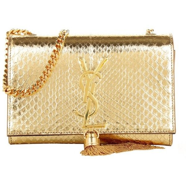 Saint Laurent Small Monogramme Tassel Clutch Gold in gold, Shoulder... ($2,605) ❤ liked on Polyvore featuring bags, handbags, clutches, bolsas, gold, gold purse, shoulder handbags, mini shoulder bag, beige shoulder bag and beige clutches