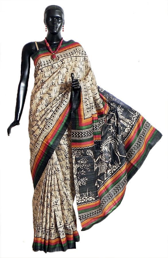 Light Beige Tussar Silk Saree with Black Warli Print All-Over (Silk Tussar))