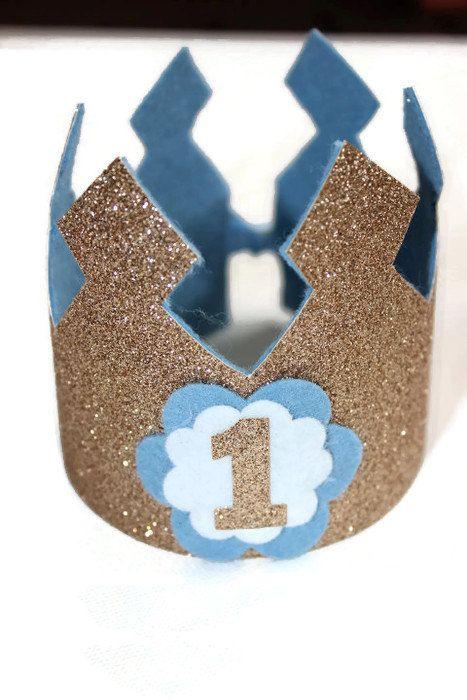 Birthday Crown  - 1st birthday - Gold Glitter Birthday Crown - Baby Birthday - First Birthday - 1st Birthday - Cake Smash - Photo Prop