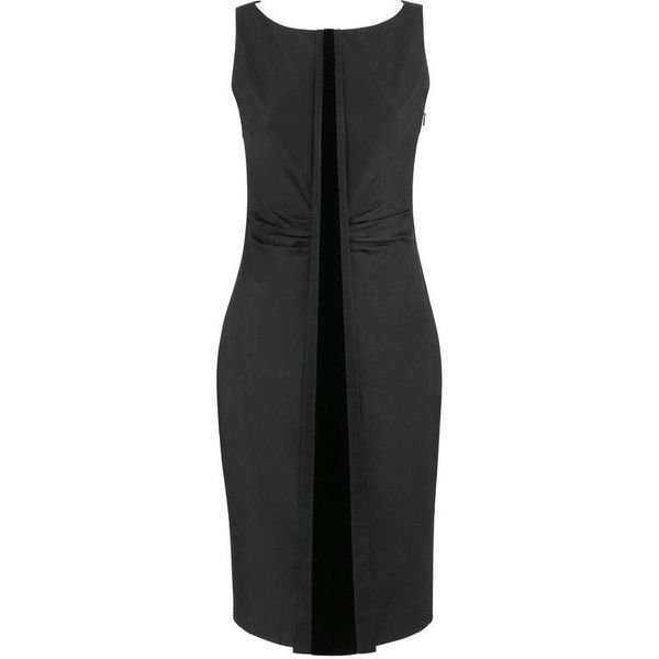 Preowned Gucci A/w 2004 Tom Ford Black Sleeveless Velvet Detail Sheath... (26 510 UAH) ❤ liked on Polyvore featuring dresses, black, cocktail dresses, boatneck sheath dress, boat neck dresses, sheath dresses, boatneck dress and box pleat dress