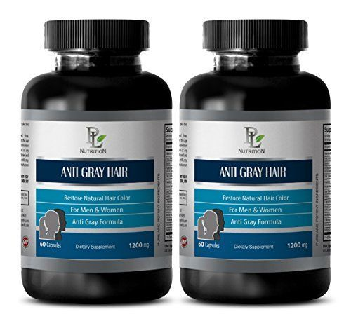 Gray hair vitamins  ANTI GRAY HAIR NATURAL COMPLEX 1200mg  Biotin for hair loss for men  2 Bottles 120 Capsules * Find out more about the great product at the image link.