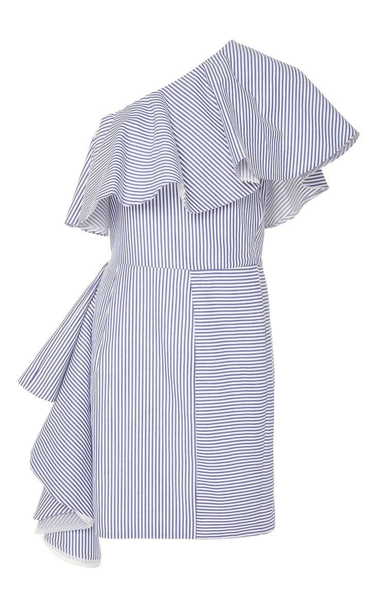 Takeo One Shoulder Shirting Dress by VIVA AVIVA for Preorder on Moda Operandi