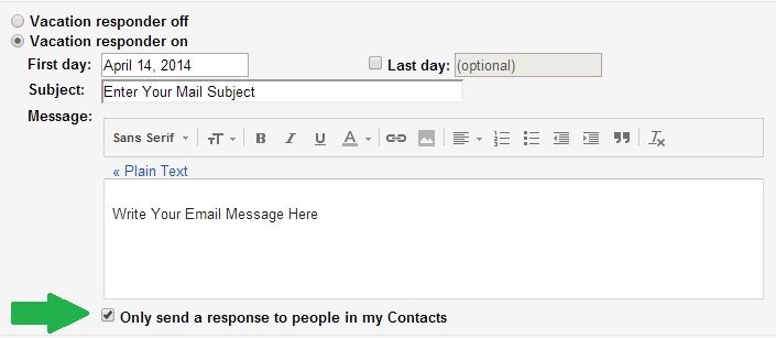 In Gmail, The Vacation Responder would reply some pre-written email message to sender while you are not available for some days or time. #Gmail