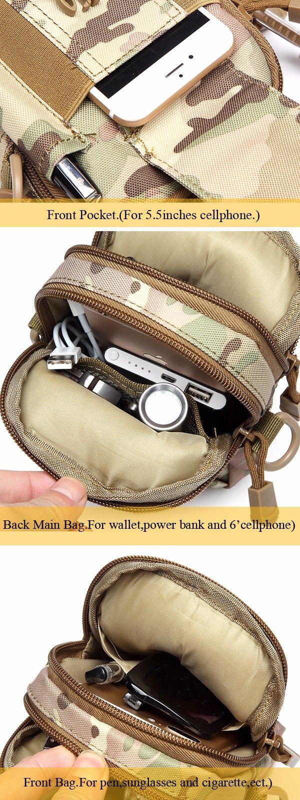 6inches Cellphone Men Nylon Crossbody Bag Tool Tactical Waist Bag