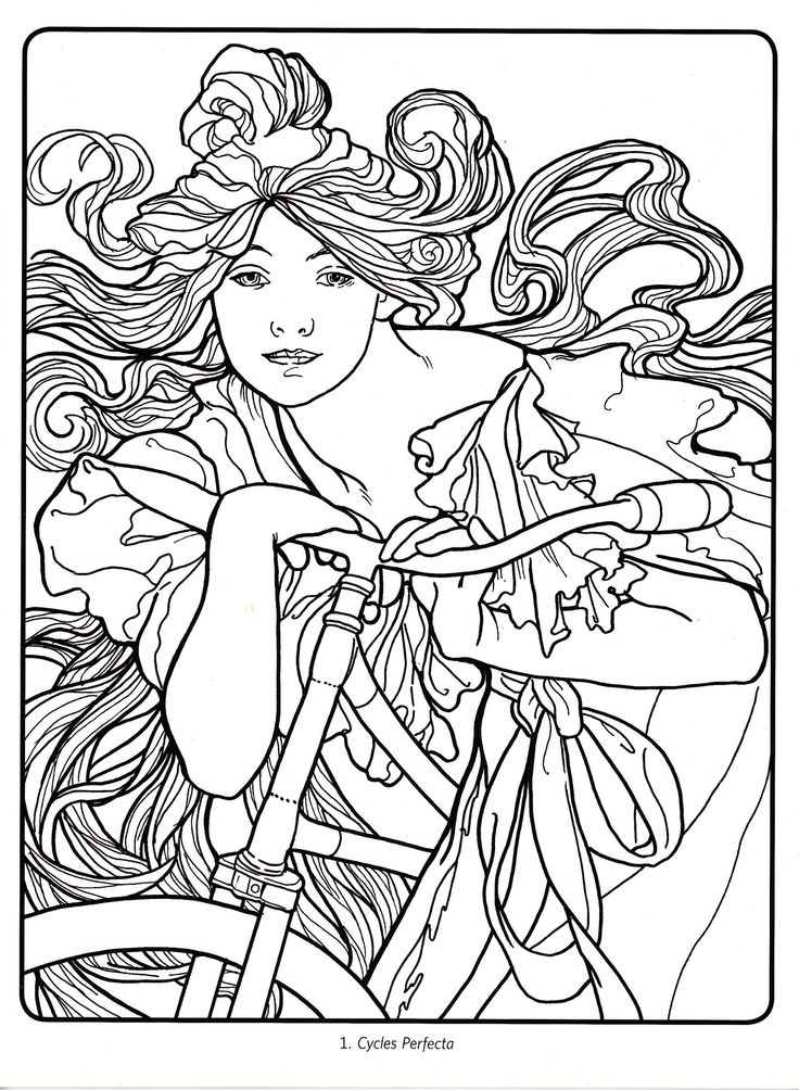 Art Deco - Alphonse Mucha 01 | Coloring pages to print ...