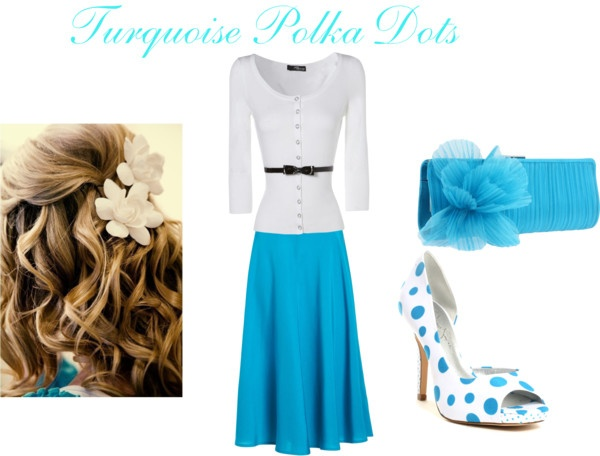 Turquoise Polka Dots Modest Outfit, created by mishashawnea96 on Polyvore