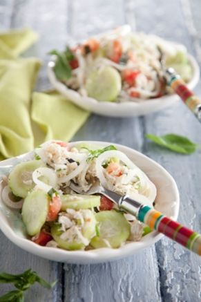 Vidalia Onion and Lump Blue Crab Salad - Paula Deen  I would do w/o crab just as veggies ~dc