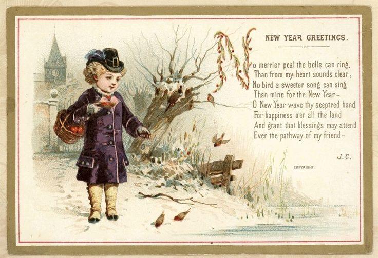Purple Coat Girl Feeds Birds Snow Stream Antique Victorian New Year Card