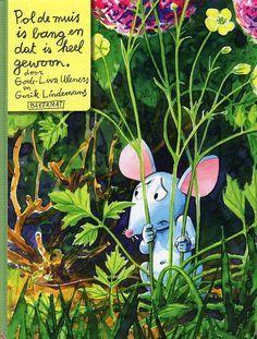 """Bang zijn is heel gewoon. Maar niet """"durven"""" bang zijn, dat is pas erg. Dus ben je dubbel-bang. Want niemand mag het weten. Je bent alleen met je angst. Héél erg is dat. Pol de muis is verschrikkelijk bang en weet niet hoe hij zijn angst kan overwinnen. Als hij niet per sé de flinkerd hoeft te zijn, voelt hij zich al stukken beter. Dit boek is een lang gesprek tussen Pol en een kind. Echt een prachtig boek over de essentie van gevoel; het mag er zijn."""