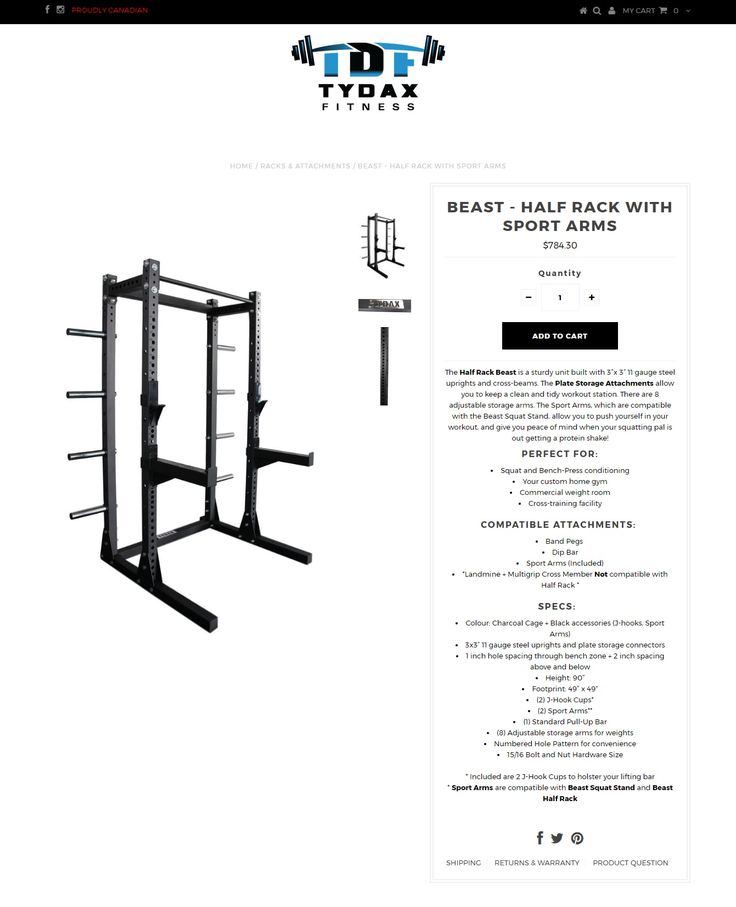 """The Half Rack Beast is a sturdy unit built with 3""""x 3"""" 11 gauge steel uprights and cross-beams. Visit for more Information https://tydax.ca/collections/racks-attachments/products/beast-half-rack-with-sport-arms"""