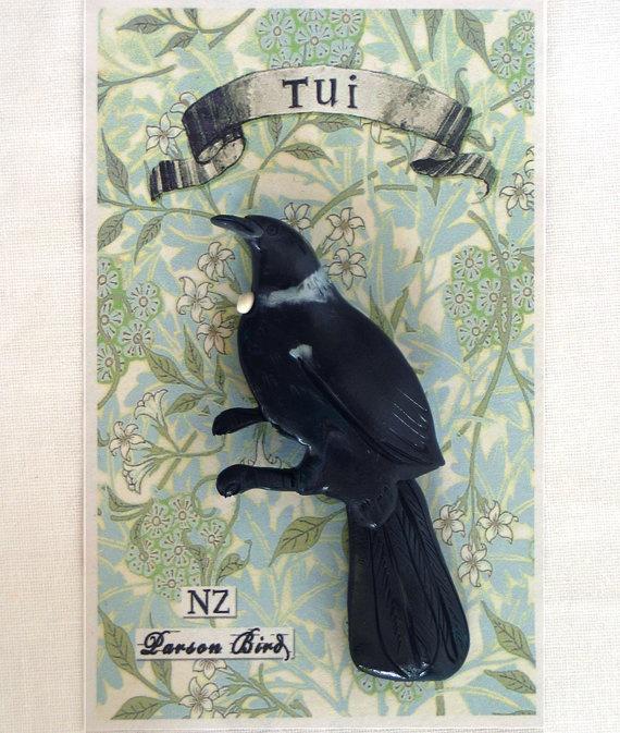 Tui Brooch by Birdspoke on Etsy, $25.00