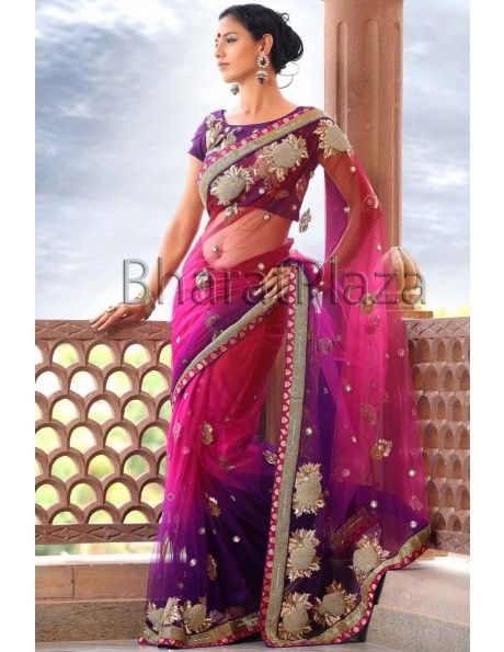 Diamantes Beauty Item code : SKD845  http://www.bharatplaza.com/womens-wear/sarees/wedding-sarees.html
