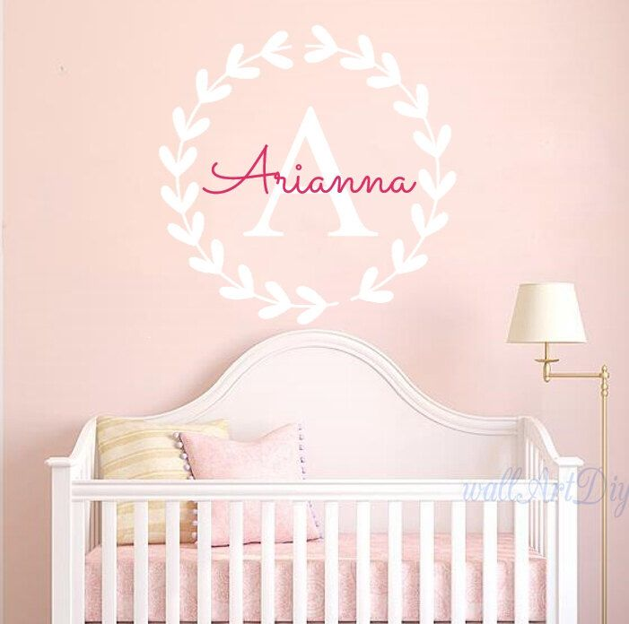 Monogram Wall Decals Name Wall Sticker Pink And White Wall Mural Monogram  Wall Stencils Nursery Name