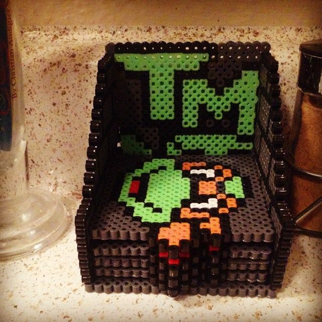 TMNT coaster set perler beads by beads_of_art