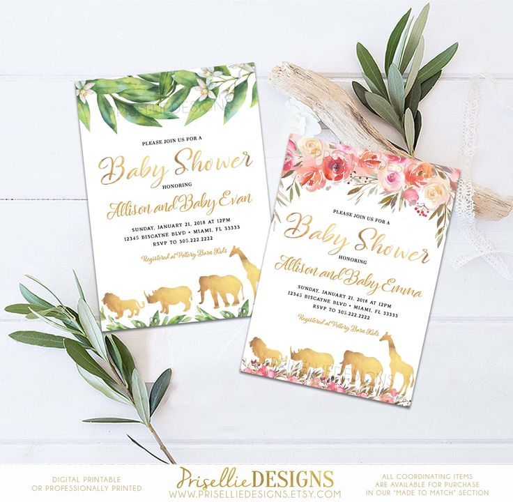 Safari Baby Shower Invitation, Floral Baby Shower Invitation, Greenery Boy Girl Gender Neutral Safari Baby Shower Invitation Printable by PrisellieDesigns on Etsy