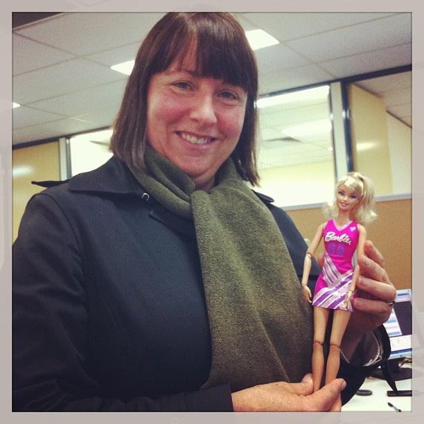 Diamonds head coach, Lisa Alexander, meeting Barbie Netball Star who has today announced her new career in netball! #GoDiamonds