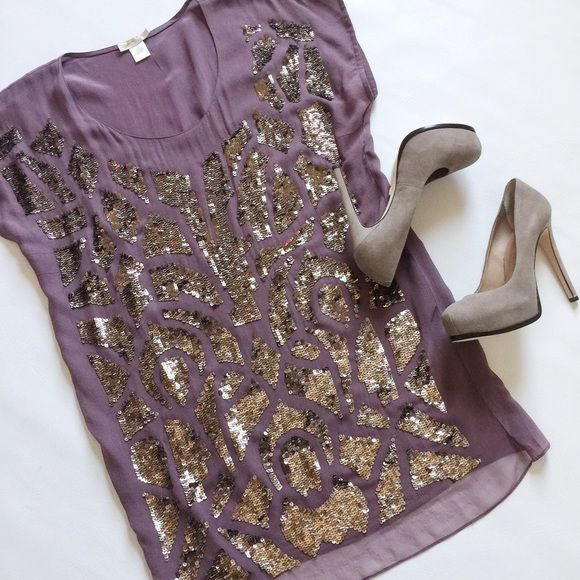 """Gold Hawk Silk Sequin Tunic Dress Gold Hawk Silk Sequin Tunic Top in neutral plum and beautiful bronze sequin design.  Separate tunic slip with adjustable straps.  Pre-loved but in excellent condition.  Small stain on slip, see pic.  Slight signs of loose stitching near neckline, see pic.  No other damage, holes or tears.  True color in first pic.    Measurements laying flat: Armpit to armpit: 21.5"""" Waist (across): 18.5"""" Hips: 19"""" Top of shoulder to bottom hem: 32.5"""" Gold Hawk Dresses"""