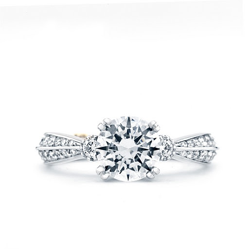 """Cherish"" diamond engagement ring with knife-edge diamond band, available by special order at Greenwich Jewelers"