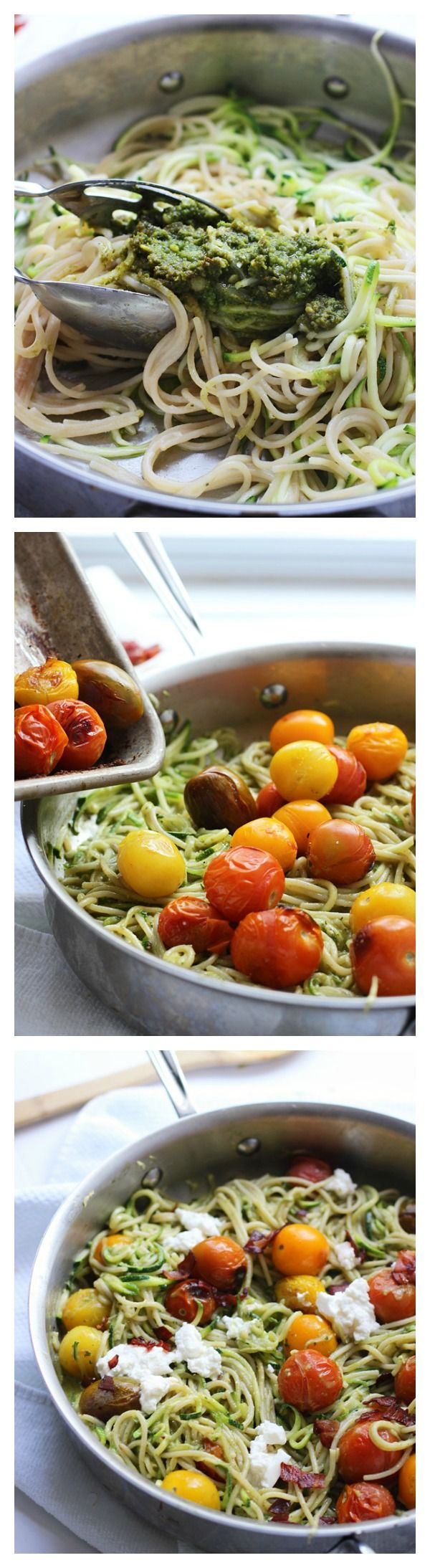 Whole-Wheat and Zucchini Spaghetti with Basil Almond Pesto, Blistered Tomatoes and Ricotta ~ Healthy, hearty and SO delicious!