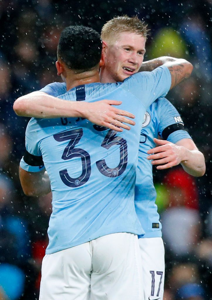 fea978652 ... 26  Kevin De Bruyne of Manchester City celebrates with teammate Gabriel  Jesus after scoring his team s third goal during the FA Cup Fourth Round  match ...
