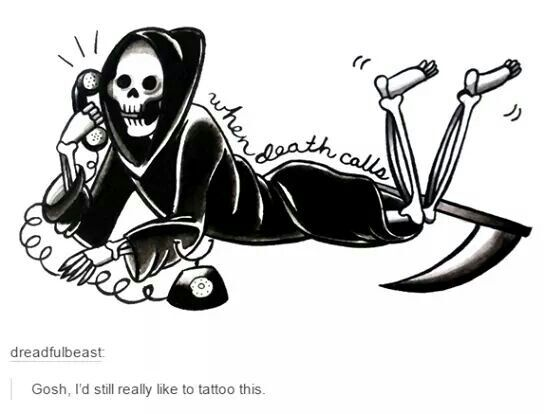 When death calls tattoo design