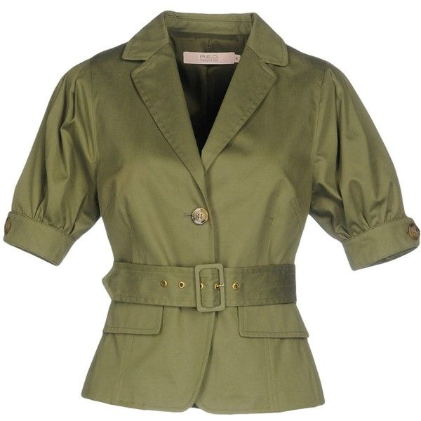 Redvalentino Blazer ($235) ❤ liked on Polyvore featuring outerwear, jackets, blazers, military green, multi pocket jacket, olive jacket, green army jacket, blazer jacket and army green blazer