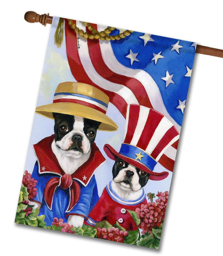 Boston Terrier American Pride House Flag: Flag Size: X Flag Stand Sold  Separately Proudly Printed In The USA Vibrant Colors Printed On A  Poly/cotton Outdoor ...