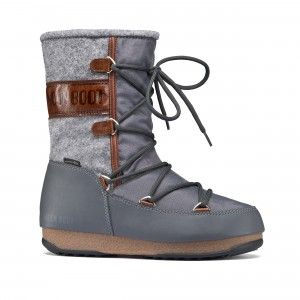Moon Boot WE Vienna Felt Grey Brown Flat Boots #apresski #skiing #snowboard #snow #winter #fashion #boots #snowboots