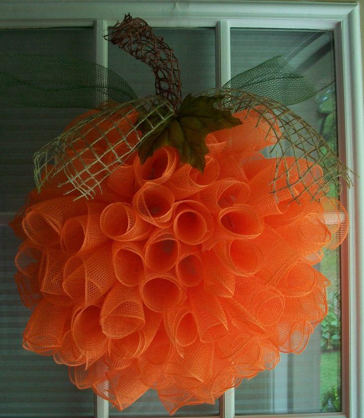 SPIRAL Deco Mesh PUMPKIN Wreath by ADoorableCreations05 on Etsy, $35.00