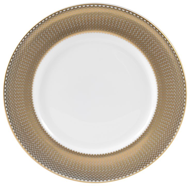 """•6"""" 'Benday Gold' Bread Plate. Complimented with 22kt Gold rims and accents, this luxury range provides a touch of class and elegance. Hand made in Stoke-on-Trent, England, this collection is inspired by Benjamin Day: 'our homage to the dot'. 6"""" plate can be used as a side plate or for dessert. Handwash Only, Fine Bone China. Find out more here: https://thenewenglish.co.uk/collections/benday-gold  #TheNewEnglish #Benday #Gold"""