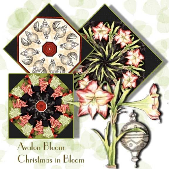 Christmas in Bloom Kaleidoscope Quilt Block Kit Kaleidoscope Blocks cut from Christmas in Bloom by Wilmington Prints Fabrics feature one of the most elegant flowers of the season, the Amaryllis, in variegated Red and White, in a not exactly Christmas style. Wilmington Prints Pattern 1665 33795 913.