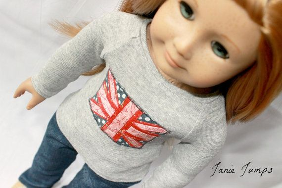 Union Jack Tshirt  Gray  American Girl Doll Clothes by JanieJumps, $15.00