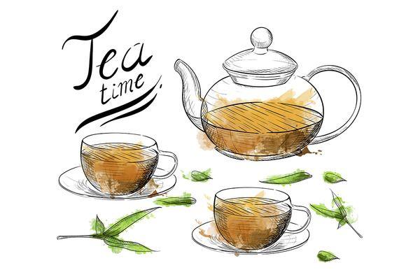Hand draw Tea collection by Alfadanz on @creativemarket